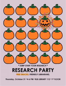 Research PArty Flyer with a bright pumpkin