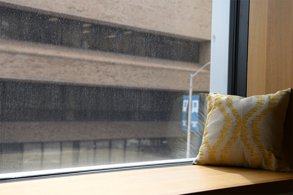 Window seat with pillow at the RLB Library