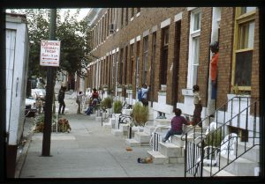Photograph of 1800 block of North Collington Avenue, Baltimore MD, August 1985. From the North Avenue (NA) Collection, at the UB Special Collections & Archives