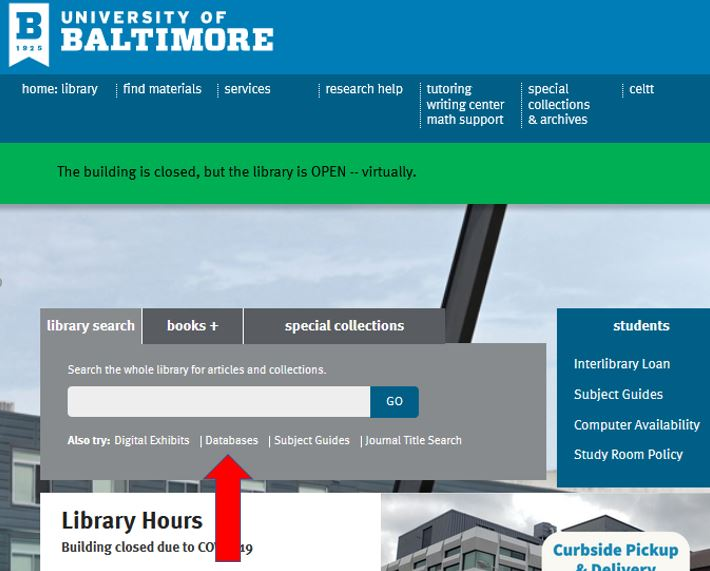 Databases location on library homepage