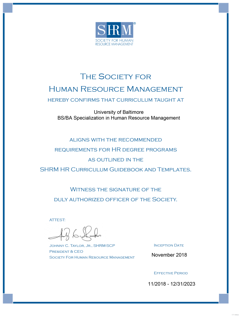 SHRM certificate