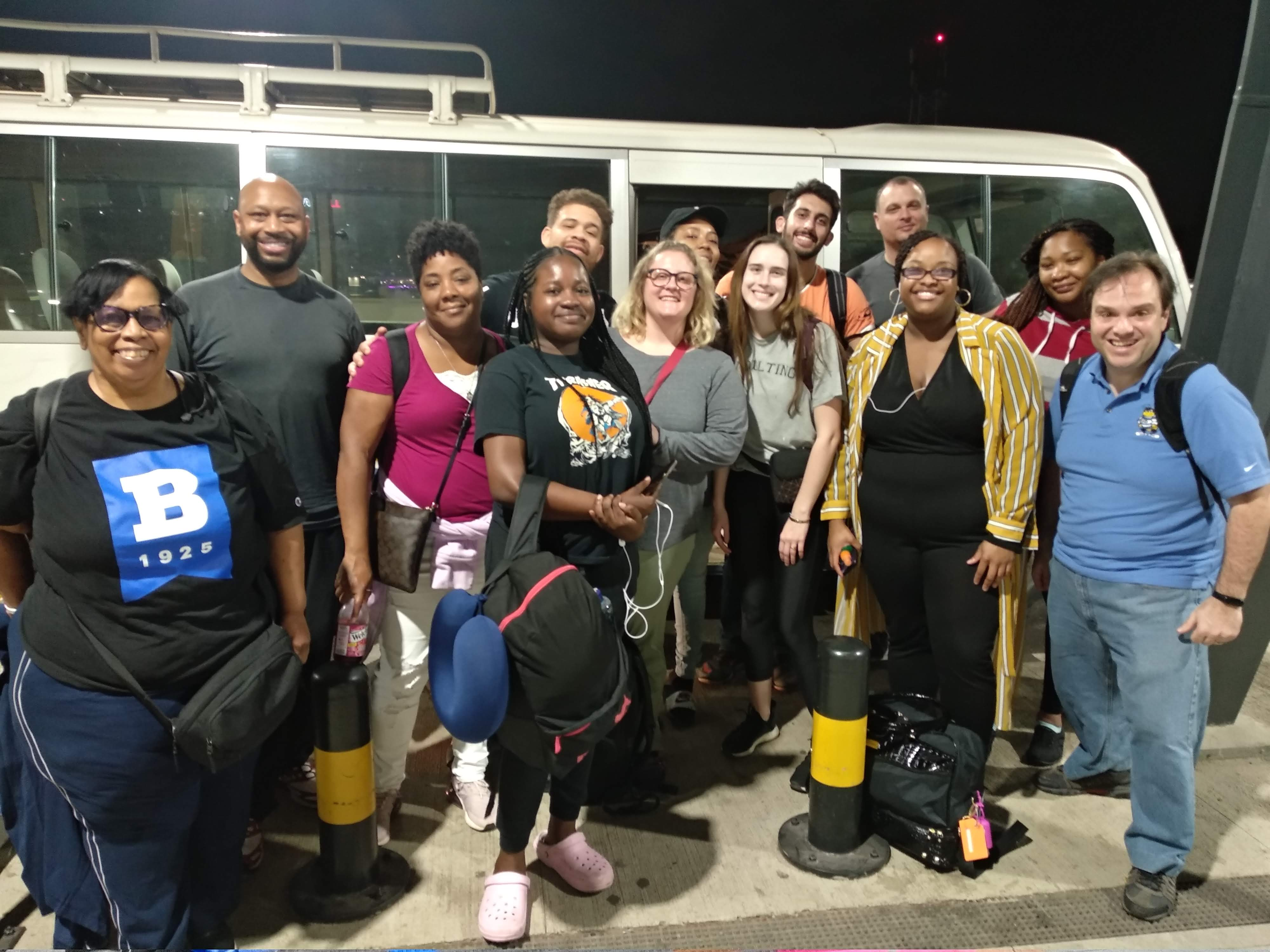 Ub students getting ready to board bus in Accra, Ghana