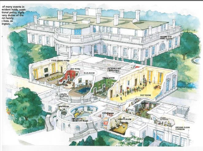 Shows cross-section of entire East Wing of the White House