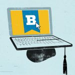Illustration of a laptop on a mortarboard with B logo